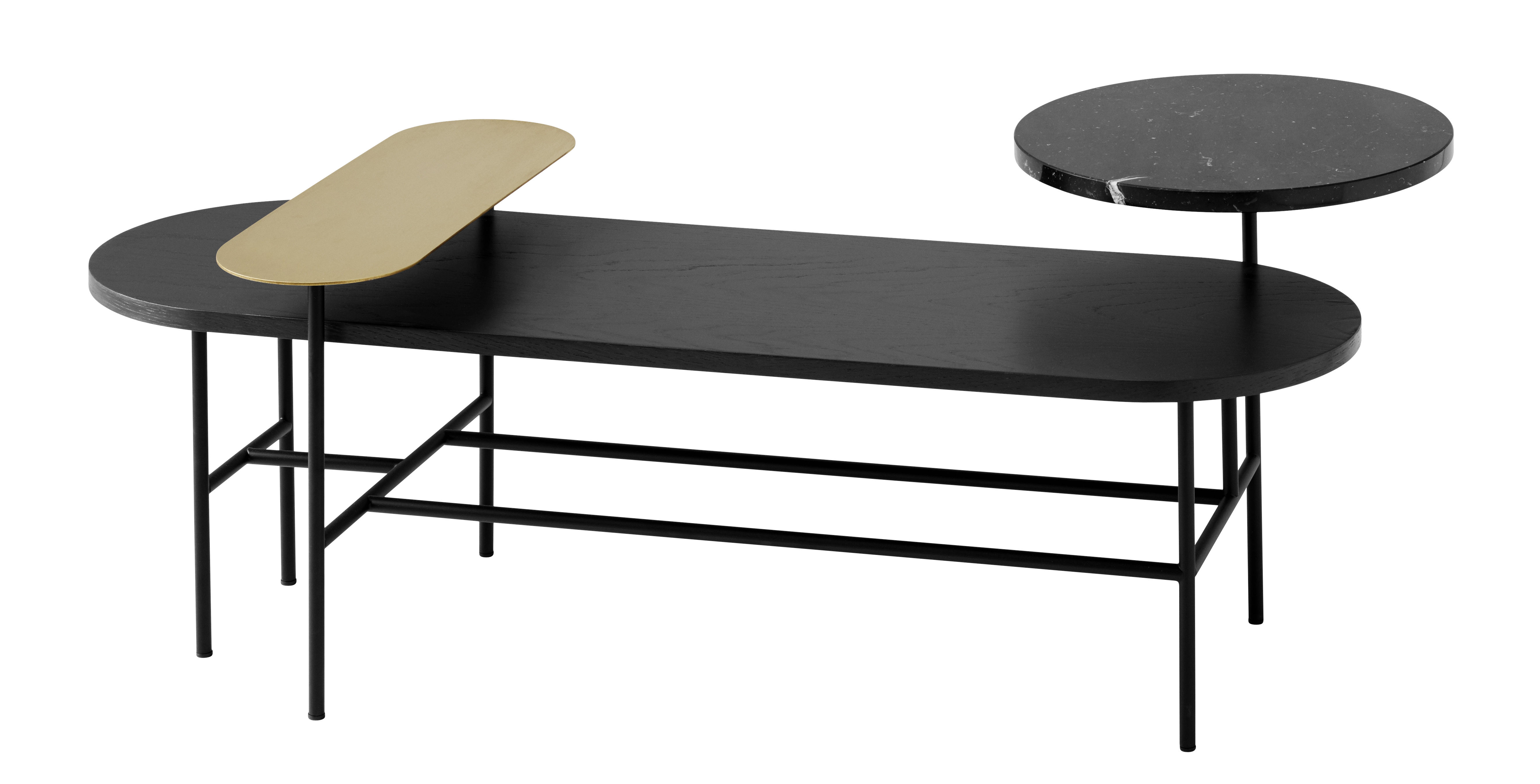 Furniture - Coffee Tables - Palette JH7 Coffee table - 3 tops by &tradition - Black / Gold - Ashwood, Brass, Marble, Steel