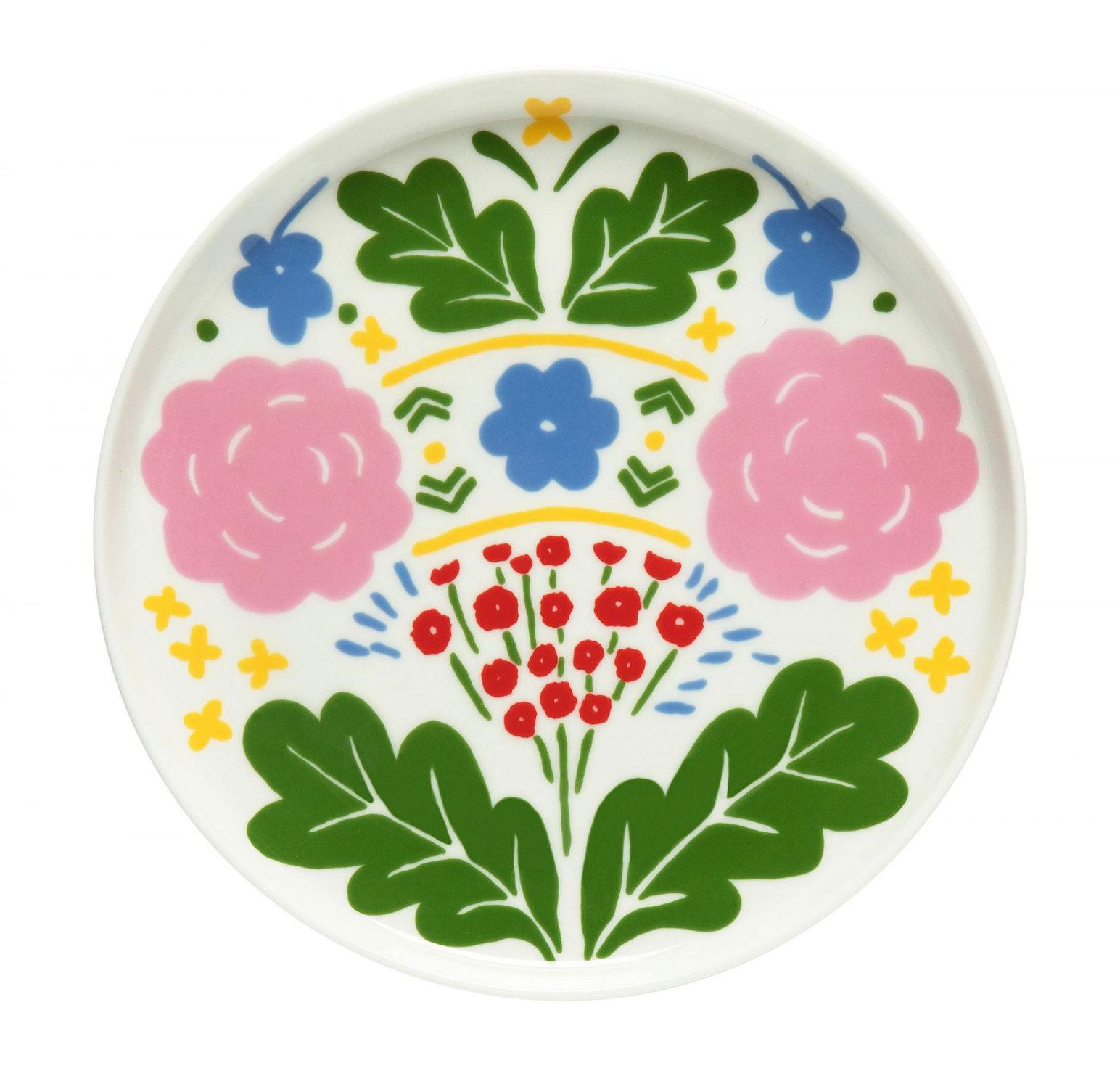 Tableware - Plates - Onni Dessert plate - / Ø 20 cm by Marimekko - Onni / Green, blue & pink - Sandstone