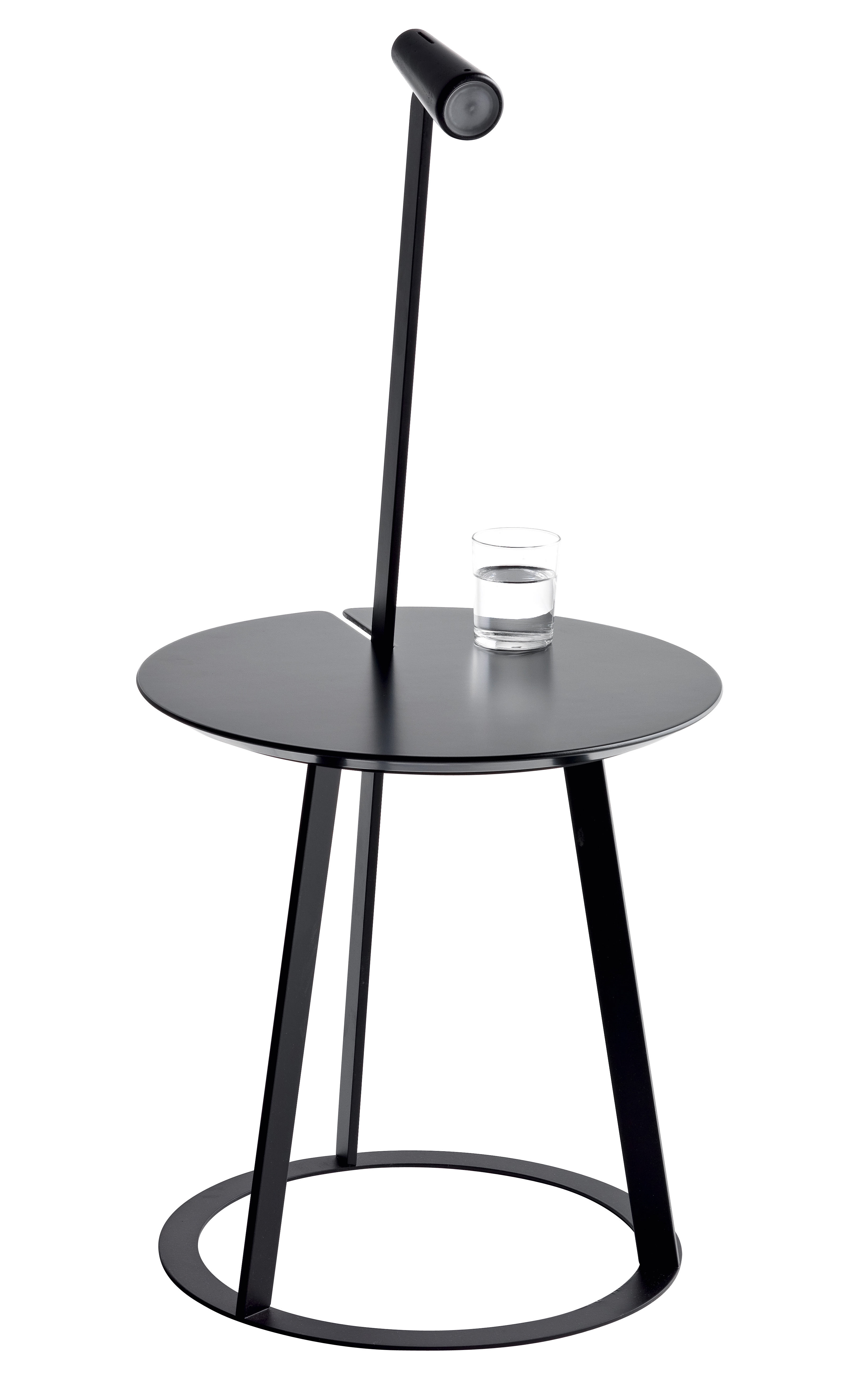 Furniture - Bedside & End tables - Albino End table - With LED lamp integrated by Horm - Black - Lacquered MDF, Lacquered steel, Lacquered wood