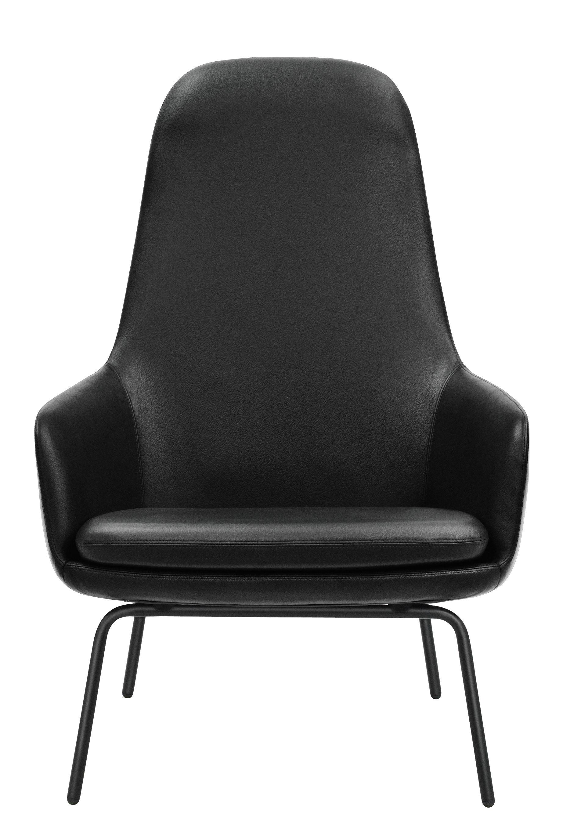 fauteuil era dossier haut cuir m tal cuir noir pieds noirs normann copenhagen. Black Bedroom Furniture Sets. Home Design Ideas