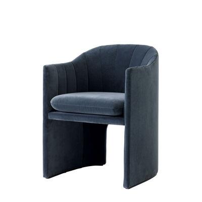 Mobilier - Chaises, fauteuils de salle à manger - Fauteuil rembourré Loafer SC24 / Small - Velours - &tradition - Velours / Bleu - Bois, Mousse, Polyester, Velours