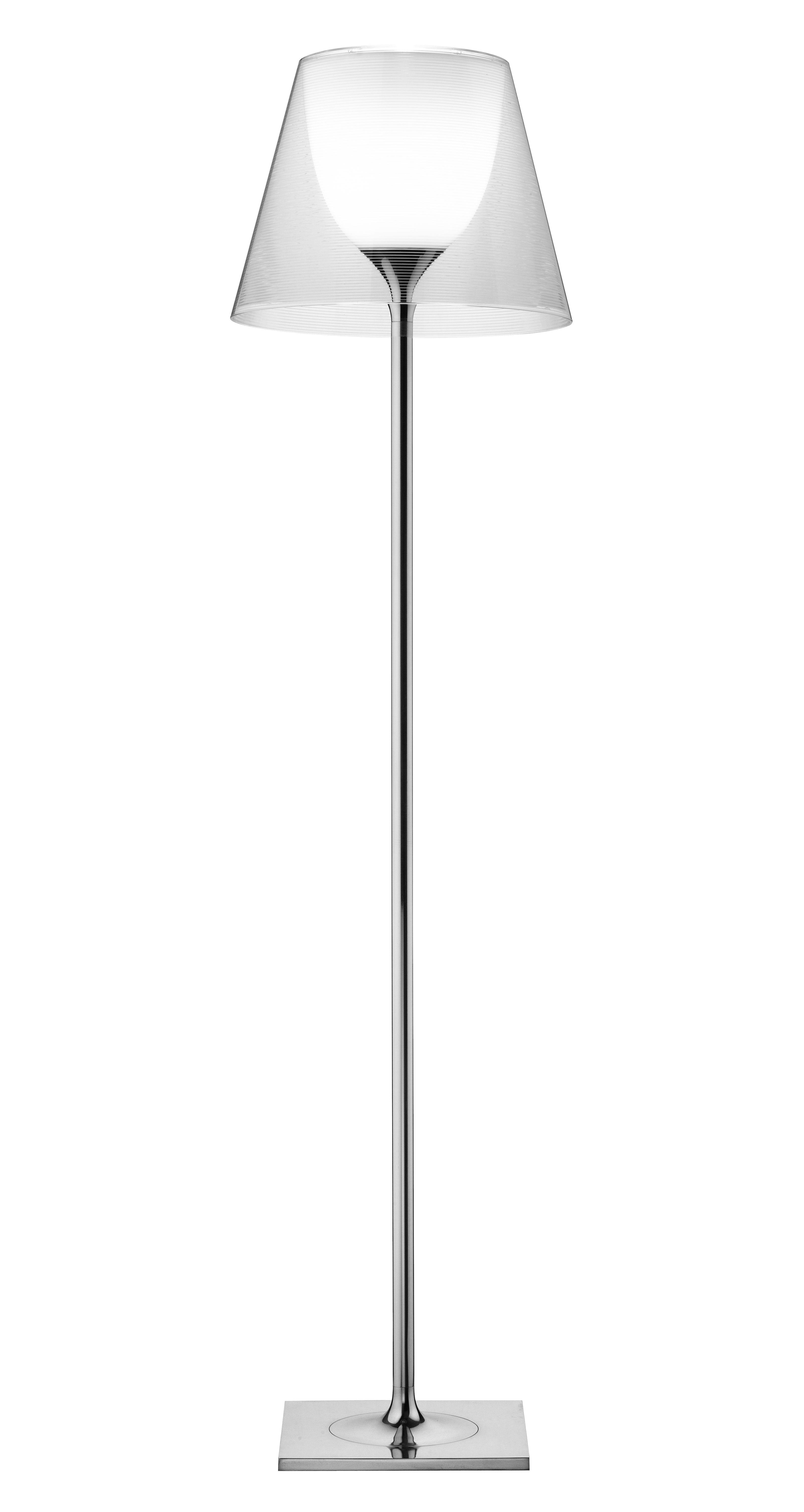 Lighting - Floor lamps - K Tribe F2 Floor lamp - H 162 cm by Flos - Transparent - PMMA, Polished aluminium
