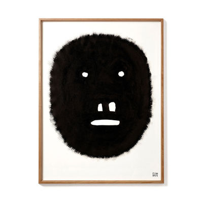 Decoration - Wallpaper & Wall Stickers - Pierre Charpin - Fat Monkey Framed poster - / Limited, numbered edition - 50.6 x 66.5 cm by The Wrong Shop - Fat Monkey / Black & oak frame - Oak, Plexiglass, Premium paper