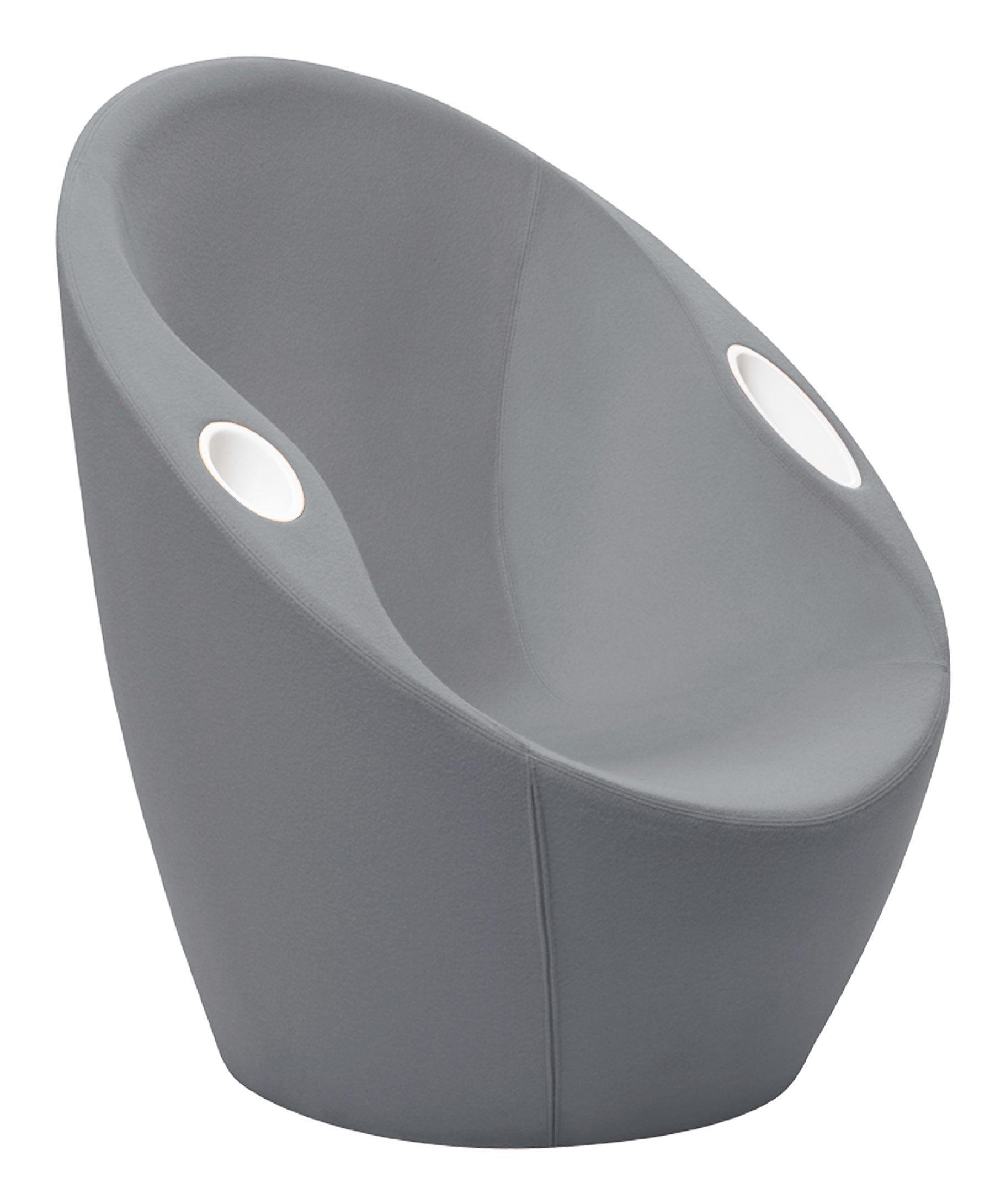 Möbel - Lounge Sessel - Ouch Gepolsterter Sessel mit Armlehnen - Bezug aus Stoff - Casamania - Grau - Gewebe, Metall, Schaumstoff