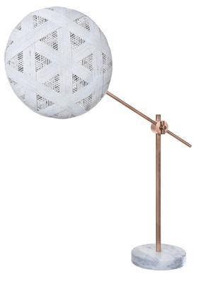 Lampe de table Chanpen Hexagon Ø 36 cm / Articulée - Motifs triangles - Forestier blanc,cuivre en tissu