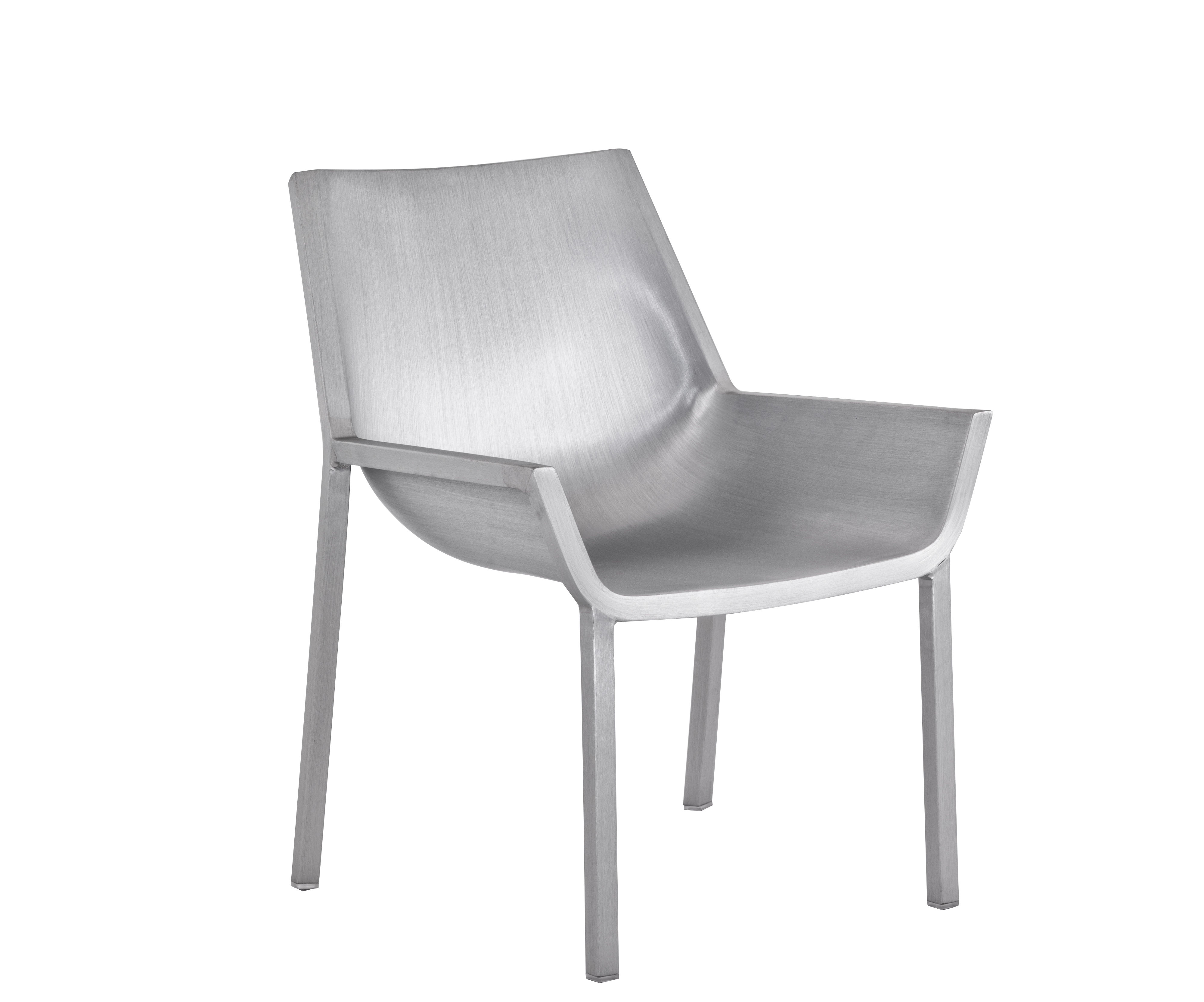 Furniture - Armchairs - Sezz Low armchair by Emeco - Brushed aluminium - Aluminium recyclé finition brossé