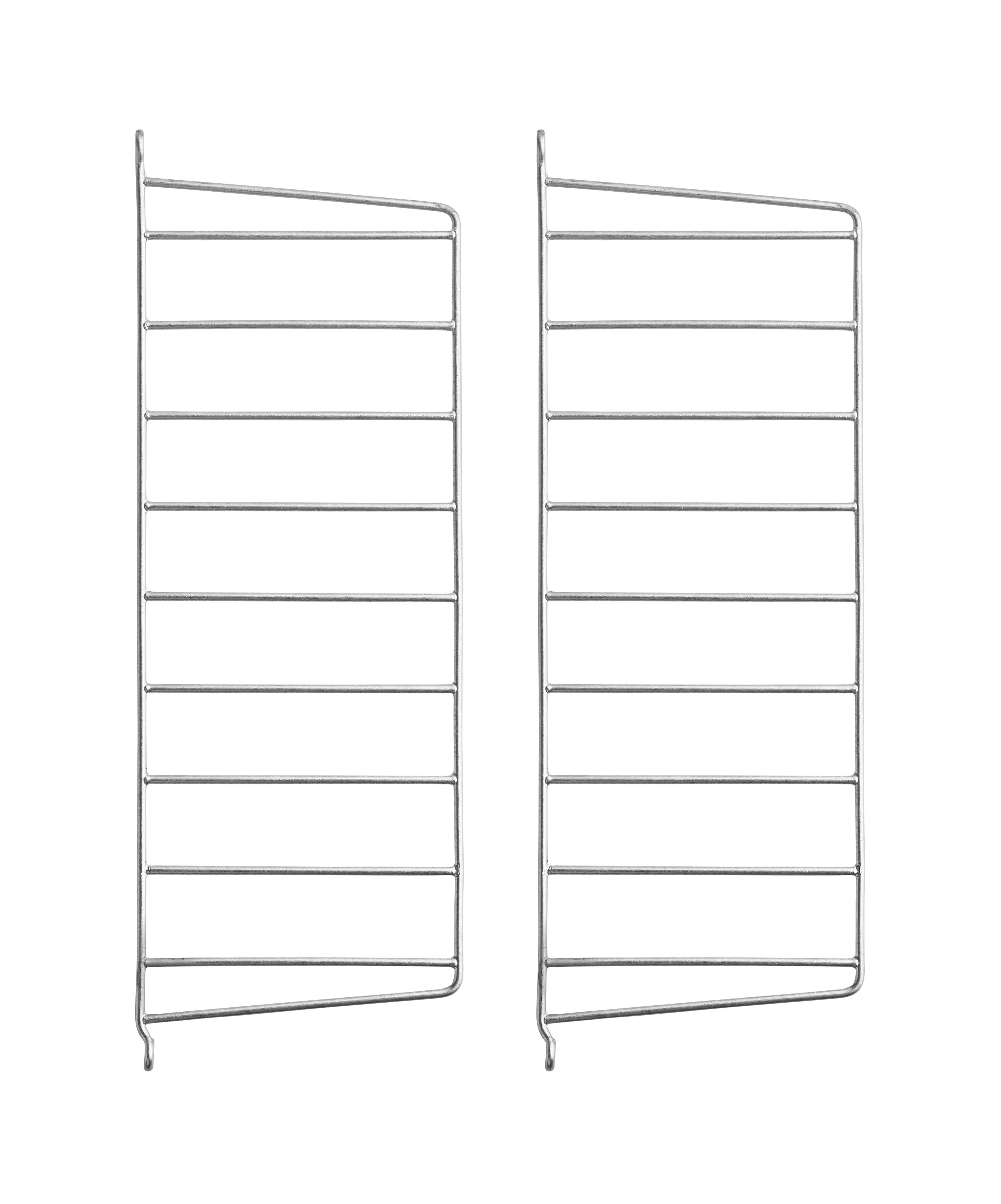 Arredamento - Scaffali e librerie - Montante murale String Outdoor - / Acciaio zincato - H 50 x P 20 cm - Set da 2 di String Furniture - Set da 2 / Zincato - Acciaio galvanizzato