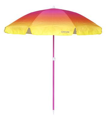 Outdoor - Ombrelloni - Ombrellone Malibu - / Ø 170 cm di Sunnylife - Malibu / Rosa & giallo - Acier laqué époxy, Poliestere