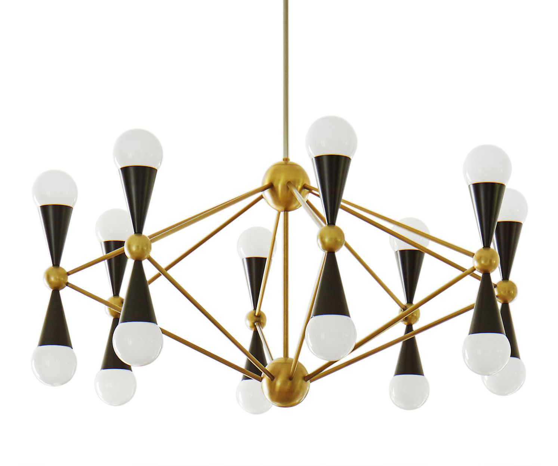 Lighting - Pendant Lighting - Caracas Pendant - 16 light sources by Jonathan Adler - 16 light sources - Gold brass / Black - Acrylic, Laiton verni, Polished brass