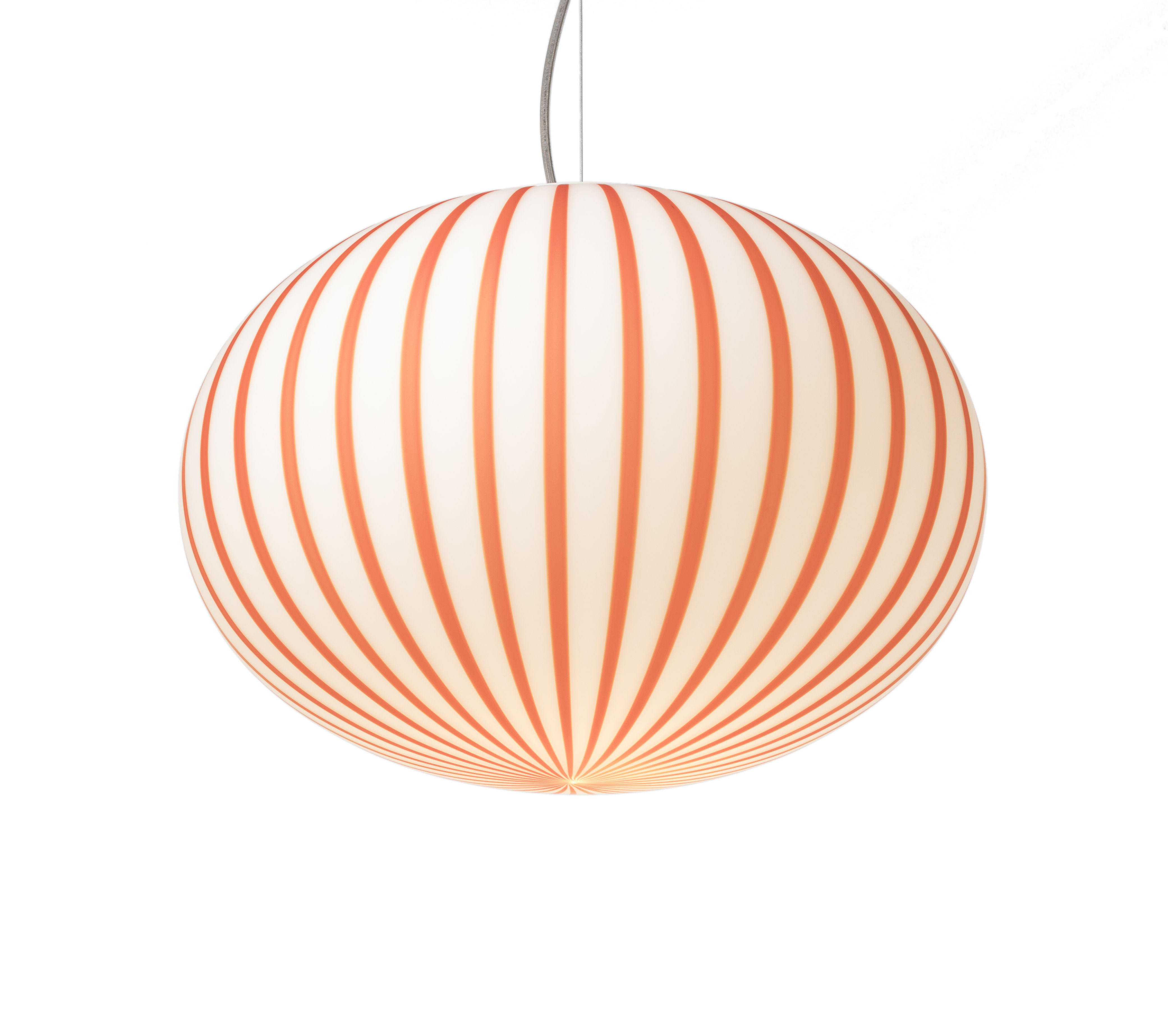 Lighting - Pendant Lighting - Filigrana Ellipse Pendant - / Red stripes - Ø 16 cm by Established & Sons - White / Red stripes - Acrylic, Metal, Mouth blown glass