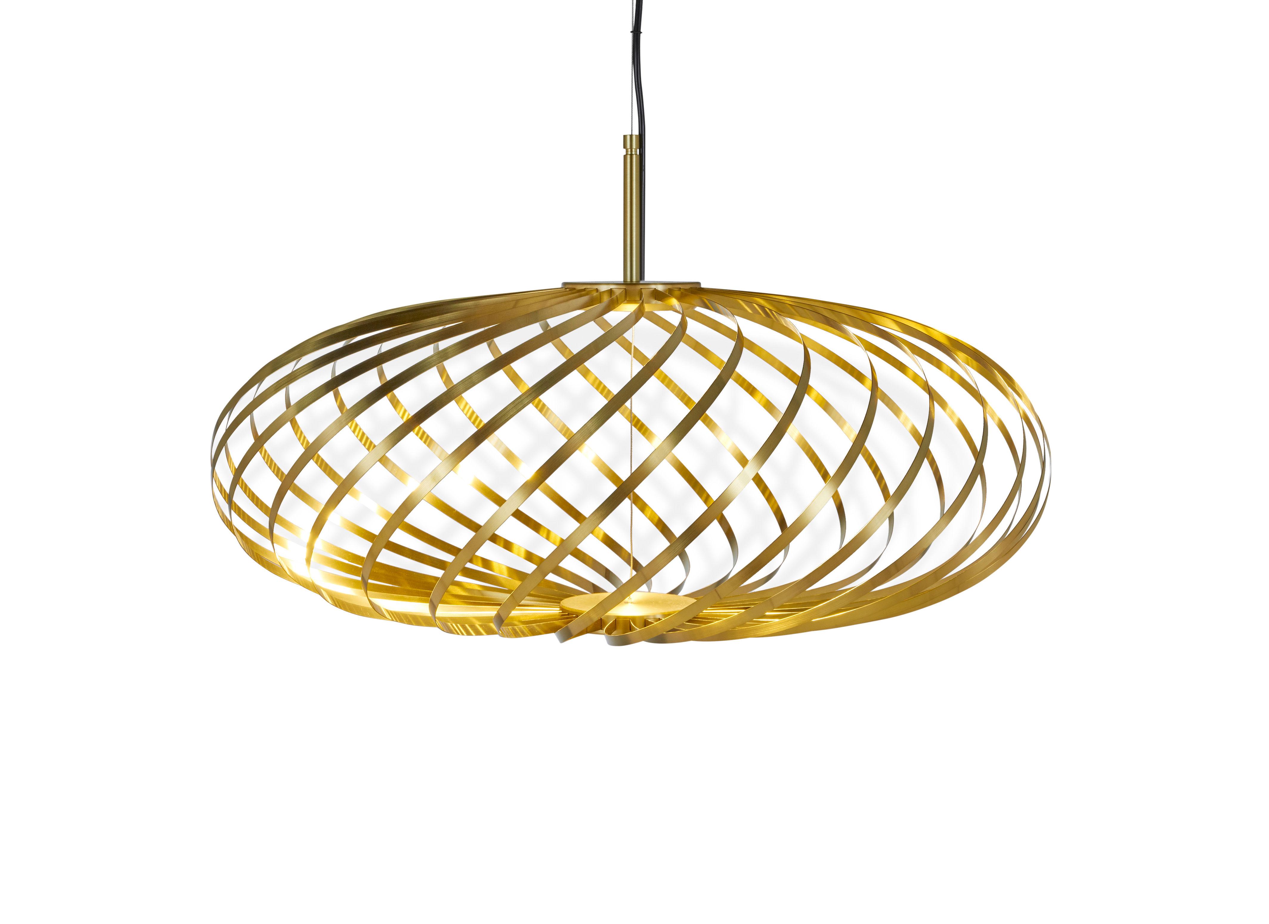 Lighting - Pendant Lighting - Spring Small LED Pendant - / Ø 56 x H 24 cm -Adjustable steel strips by Tom Dixon - Brass - Stainless steel