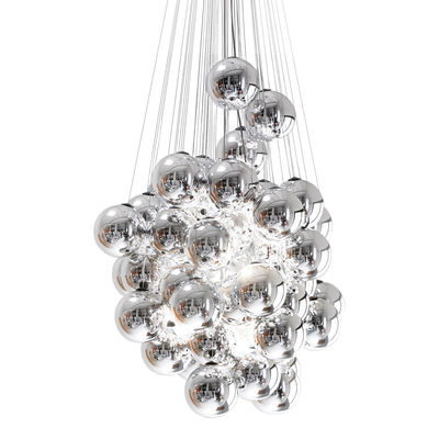 Lighting - Pendant Lighting - Stochastic Pendant - LED - 48 elements - Ø 40 cm by Luceplan - Metallized - Aluminium, Glass, Steel