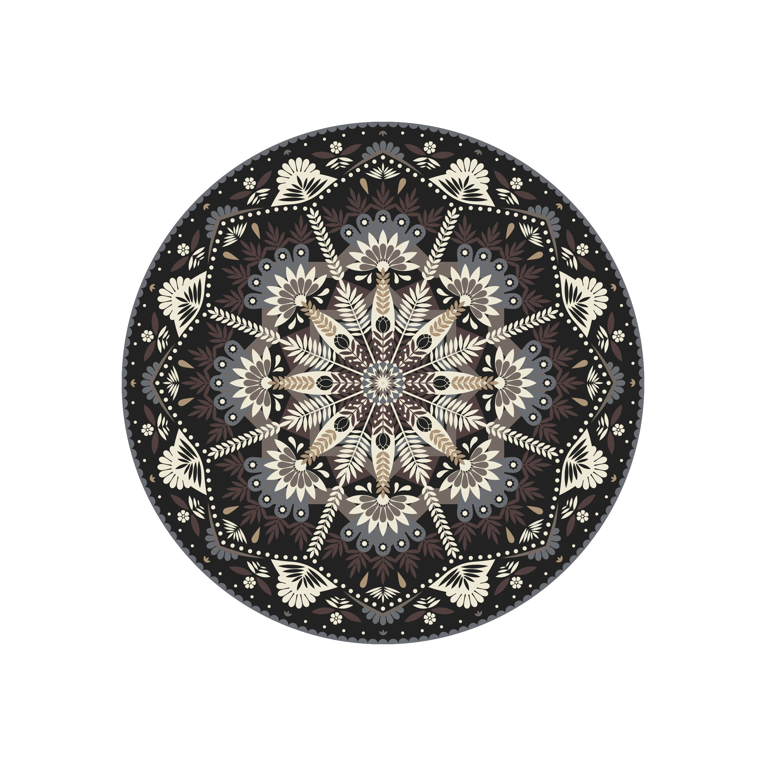 Tableware - Napkins & Tablecloths - Baba Souk Placemat - / Ø 38 cm - Vinyl by PÔDEVACHE - Grey, brown, blue - Vinal
