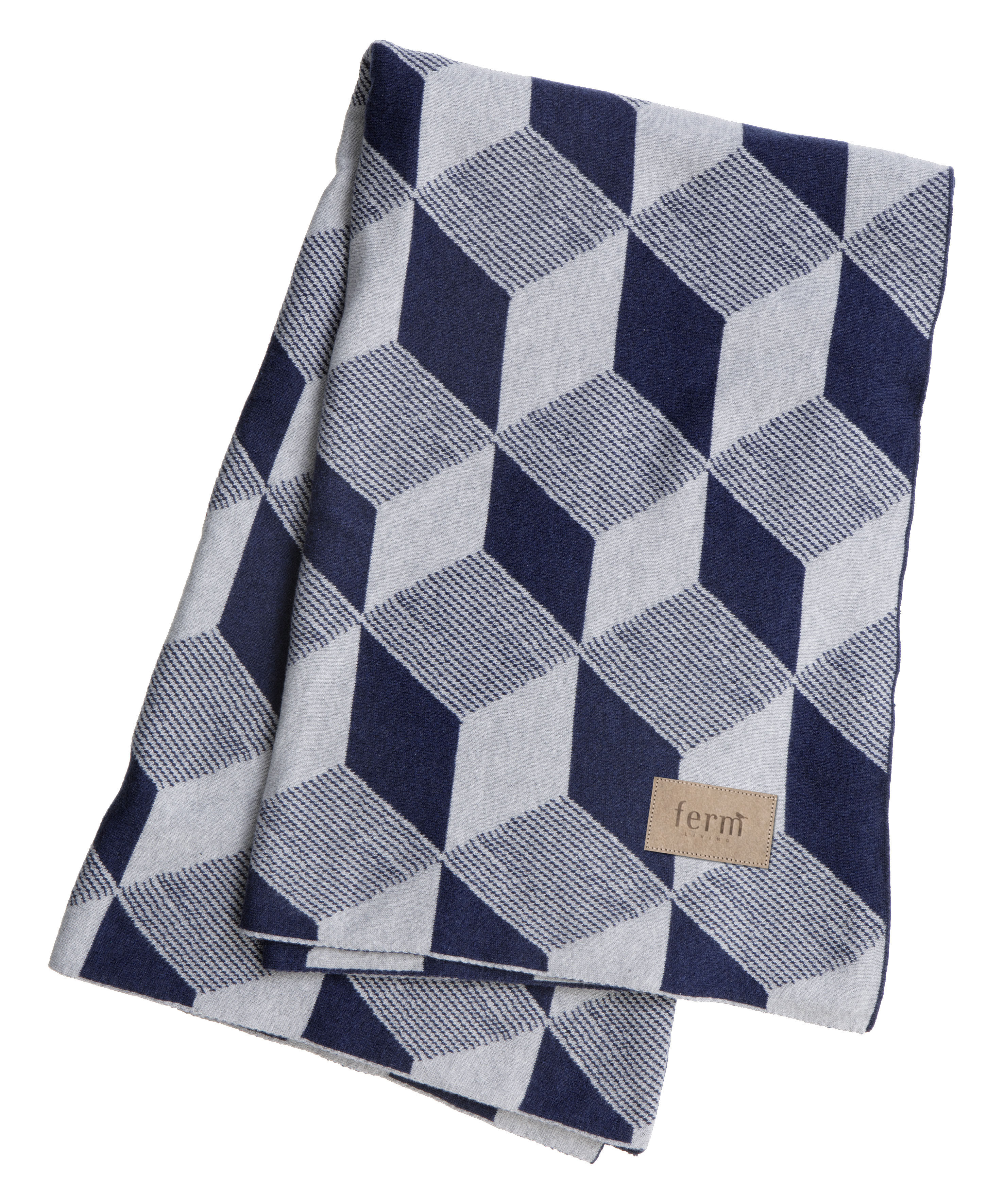 Déco - Textile - Plaid Squares / 150 x 120 cm - Ferm Living - Cubes - Bleu & Argent - Coton