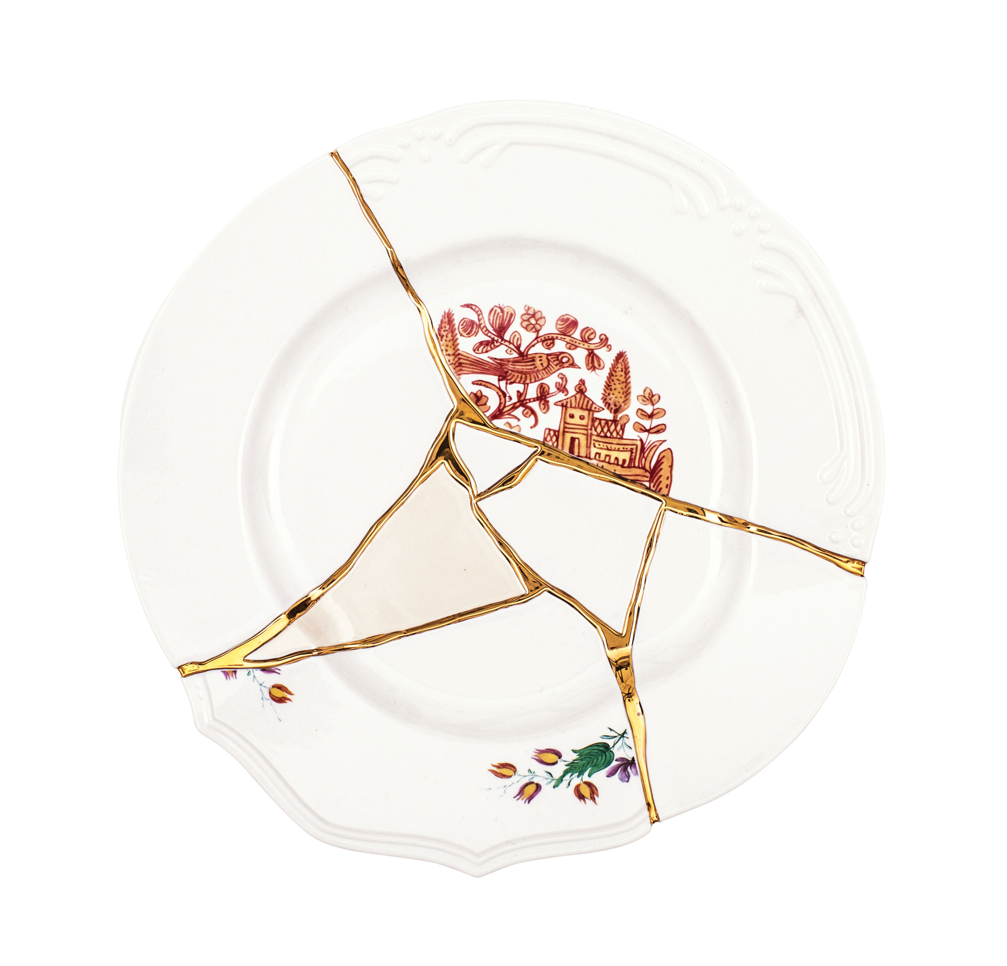 Tableware - Plates - Kintsugi Plate - / Porcelain & gold finish by Seletti - White & gold / Red patterns - China, Gold