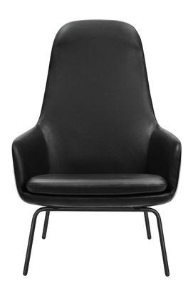 era hohe r ckenlehne leder metall normann copenhagen sessel. Black Bedroom Furniture Sets. Home Design Ideas