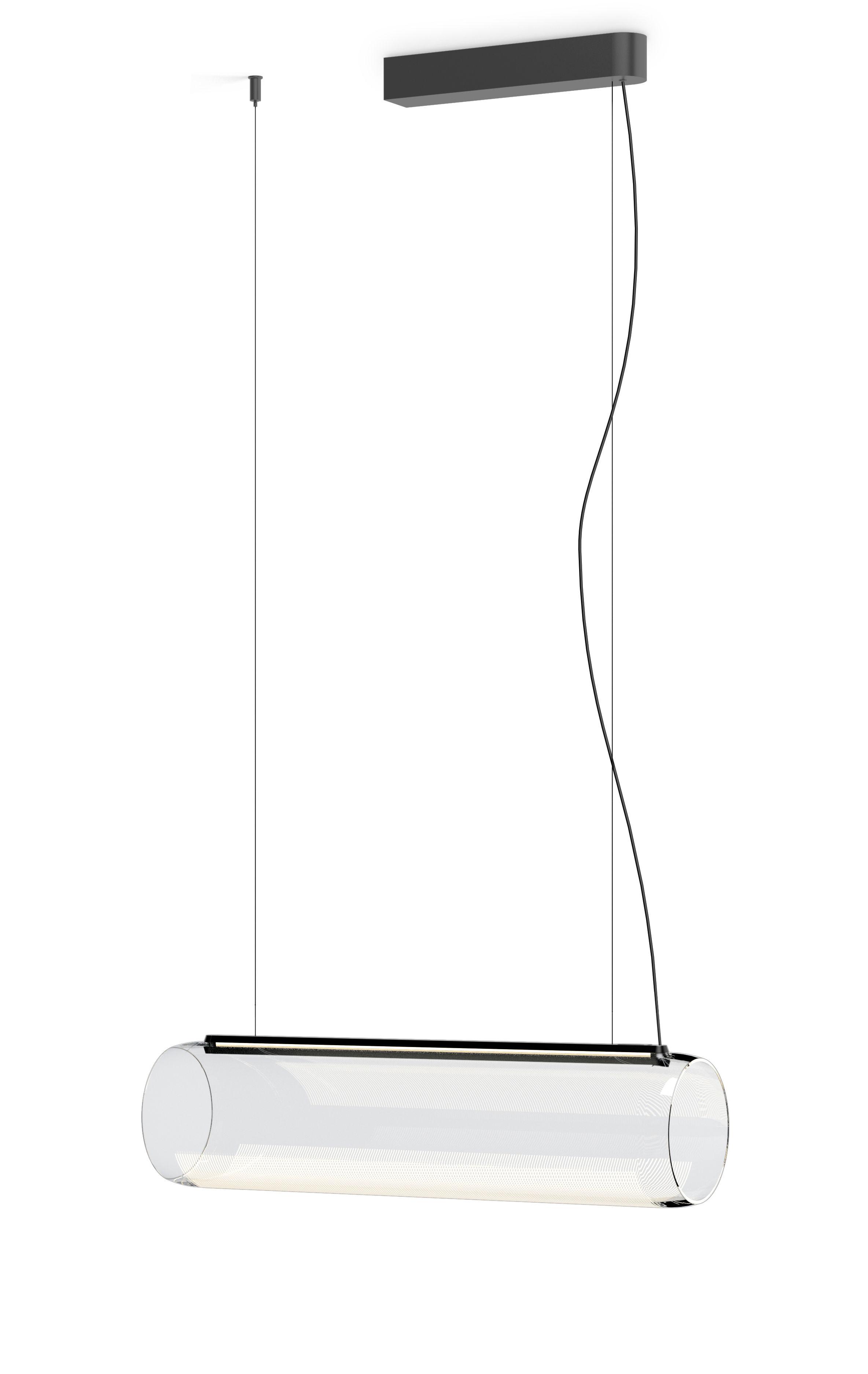 Illuminazione - Lampadari - Sospensione Guise - / Diffusore orizzontale - LED di Vibia - Laccato grafite opaco - Alluminio, Vetro borosilicato