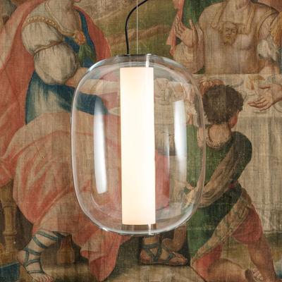 Illuminazione - Lampadari - Sospensione Meridiano Grande - / LED - H 54 cm di Fontana Arte - Transparent - Metallo nichelato, vetro soffiato