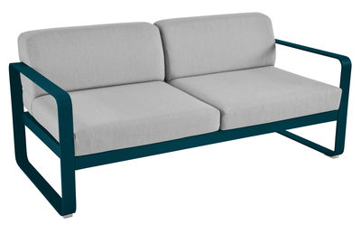 Furniture - Sofas - Bellevie Straight sofa - 2 seats / L 160 cm - Grey fabric by Fermob - Acapulco blue / Grey flannel fabric - Acrylic fabric, Foam, Lacquered aluminium