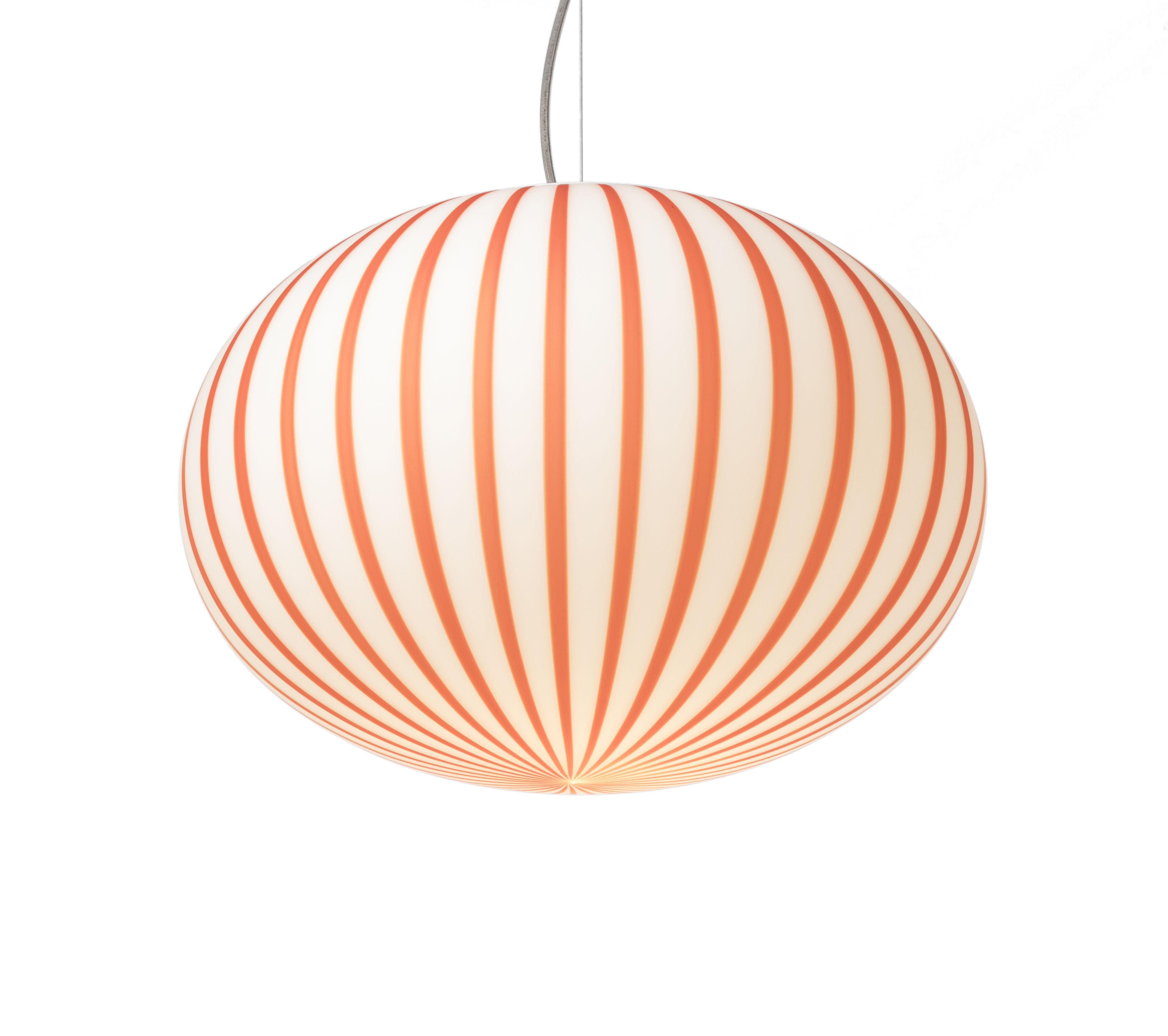 Luminaire - Suspensions - Suspension Filigrana Ellipse / Rayures rouges - Ø 16 cm - Established & Sons - Blanc / Rayures rouges - Acrylique, Métal, Verre soufflé bouche