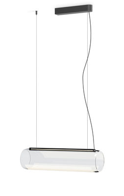 Suspension Guise / Diffuseur horizontal - LED - Vibia laqué graphite mat en métal