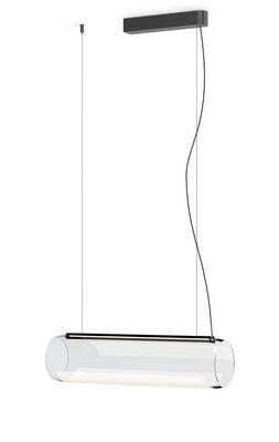 Suspension Guise / Diffuseur horizontal - LED - Vibia gris en métal/verre