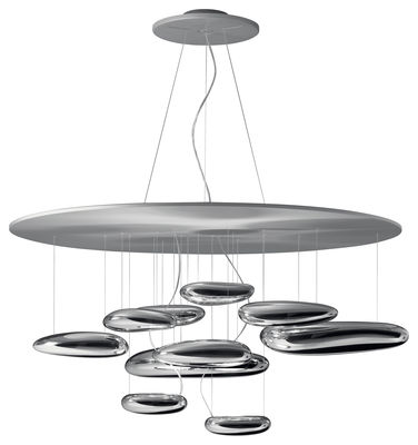 Luminaire - Suspensions - Suspension Mercury / LED - Ø 110 cm - Artemide - Chromé - LED - Aluminium, Aluminium satiné, Thermoplastique