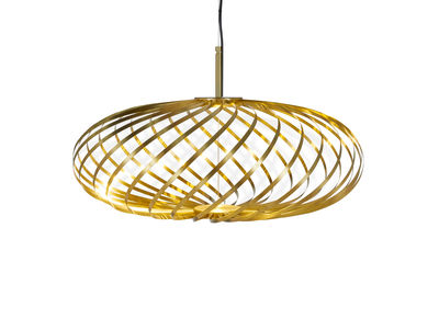 Luminaire - Suspensions - Suspension Spring Small LED / Ø 56 x H 24 cm -Bandes d'acier modulables - Tom Dixon - Laiton - Acier inoxydable