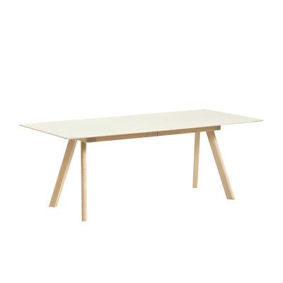 Tendances - Stay home - Table à rallonge CPH 30 / L 200 à 400 x larg. 90 cm - Linoleum - Hay - Lino Blanc cassé / Piètement chêne - Chêne massif, Contreplaqué, Linoléum