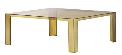 Table basse Invisible Low / 100 x 100 x H 31 cm - Kartell jaune en matière plastique