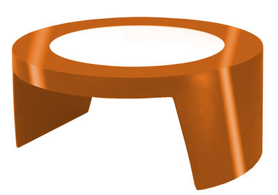 Table basse Tao - Slide orange laqué en verre