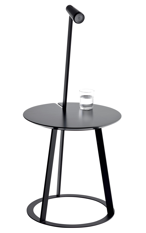 Mobilier - Tables de chevet - Table d'appoint Albino / Lampe LED - Ø 41 cm - Horm - Noir - Acier laqué, Bois laqué, MDF laqué