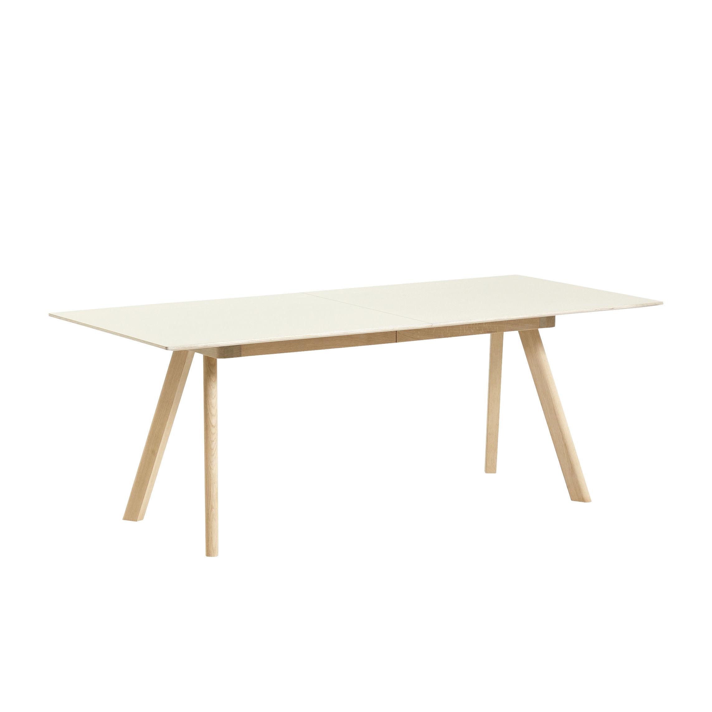 Tendances - Bien chez soi - Table extensible CPH 30 / L 200 à 400 x larg. 90 cm - Linoleum - Hay - Lino Blanc cassé / Piètement chêne - Chêne massif, Contreplaqué, Linoléum
