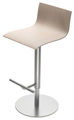 Tabouret haut réglable Thin /Assise bois pivotante - Lapalma blanc/bois naturel en métal/bois