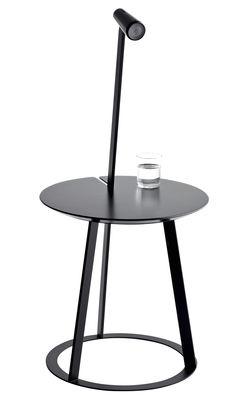 Arredamento - Comodini - Tavolino d'appoggio Albino - con lampada LED integrata di Horm - Nero - Acciaio laccato, Legno laccato, MDF laccato