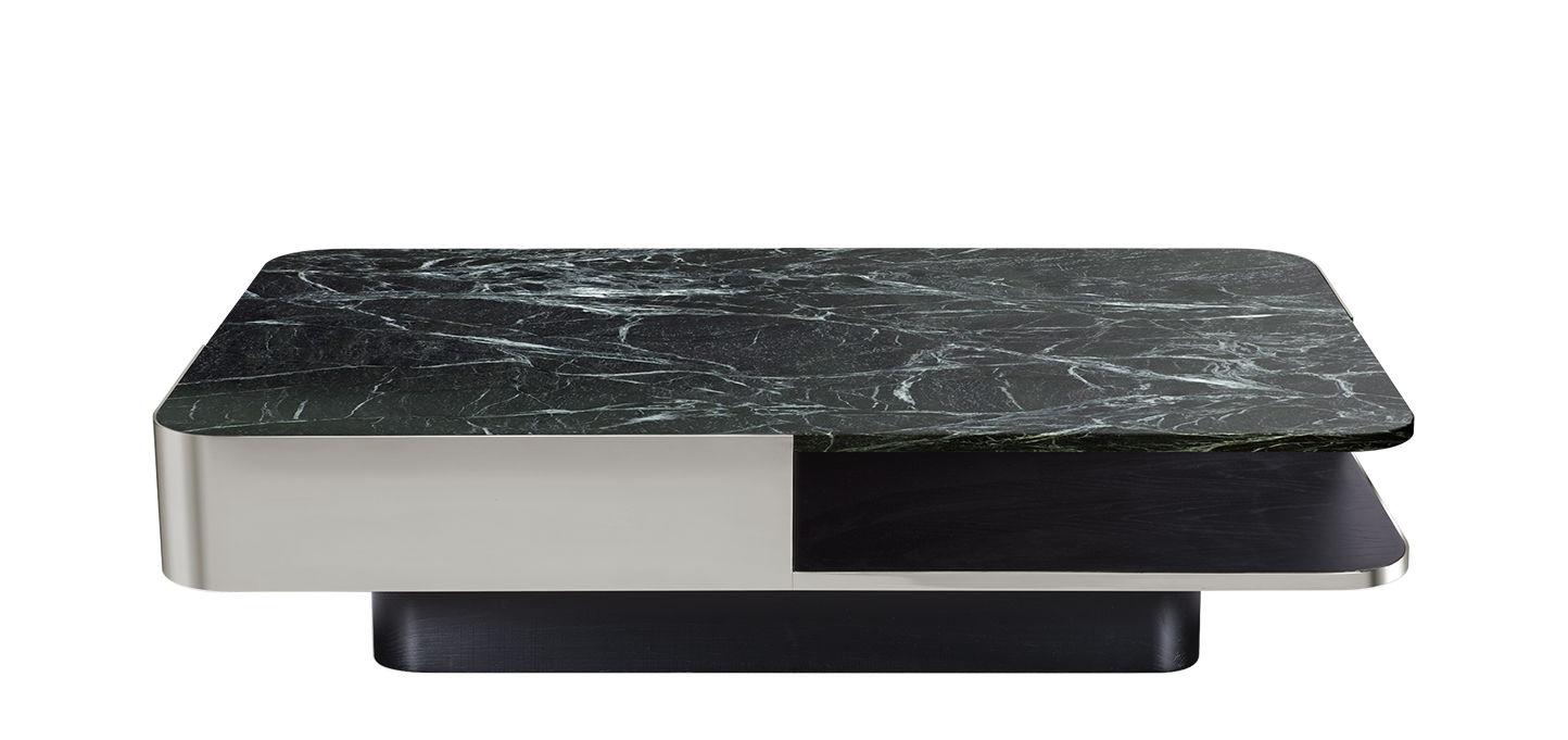 Arredamento - Tavolini  - Tavolino Lounge - / Marmo - 120 x 80 cm di RED Edition - Inox / Marmo verde - Acciaio inox, Faggio massiccio colorato, Marmo