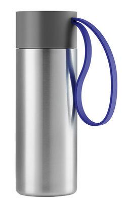 Tavola - Tazze e Boccali - Tazza isoterma To Go Cup - / thermos - 0,35 L di Eva Solo - Acciaio spazzolato / Laccio blu elettrico - Acciaio inossidabile, Silicone