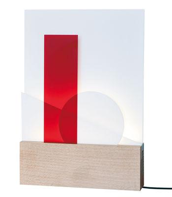 Leuchten - Tischleuchten - Euclide Tischleuchte LED / modular - L'atelier d'exercices - Holz / austauschbare Platten in unterschiedlichen Farben - massive Buche, PMMA