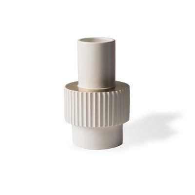 Déco - Vases - Vase Gear Small / Ø16 x H25,5 cm - Pols Potten - Blanc & or - Porcelaine émaillée