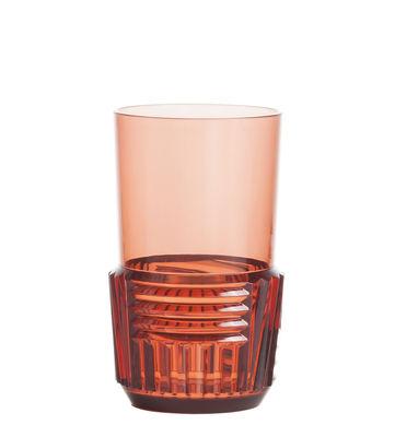 Verre Trama Large / H 15 cm - Kartell rose en matière plastique