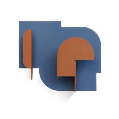 Furniture - Coat Racks & Pegs - Urba 03 Wall coat rack - / 2 hooks by Presse citron - Blue & rust - Lacquered steel