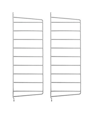 Furniture - Bookcases & Bookshelves - String® Outdoor Wall mount - / Galvanised steel - H 50 x D 20 cm - Set of 2 by String Furniture - Set of 2 / galvanised - Galvanized steel