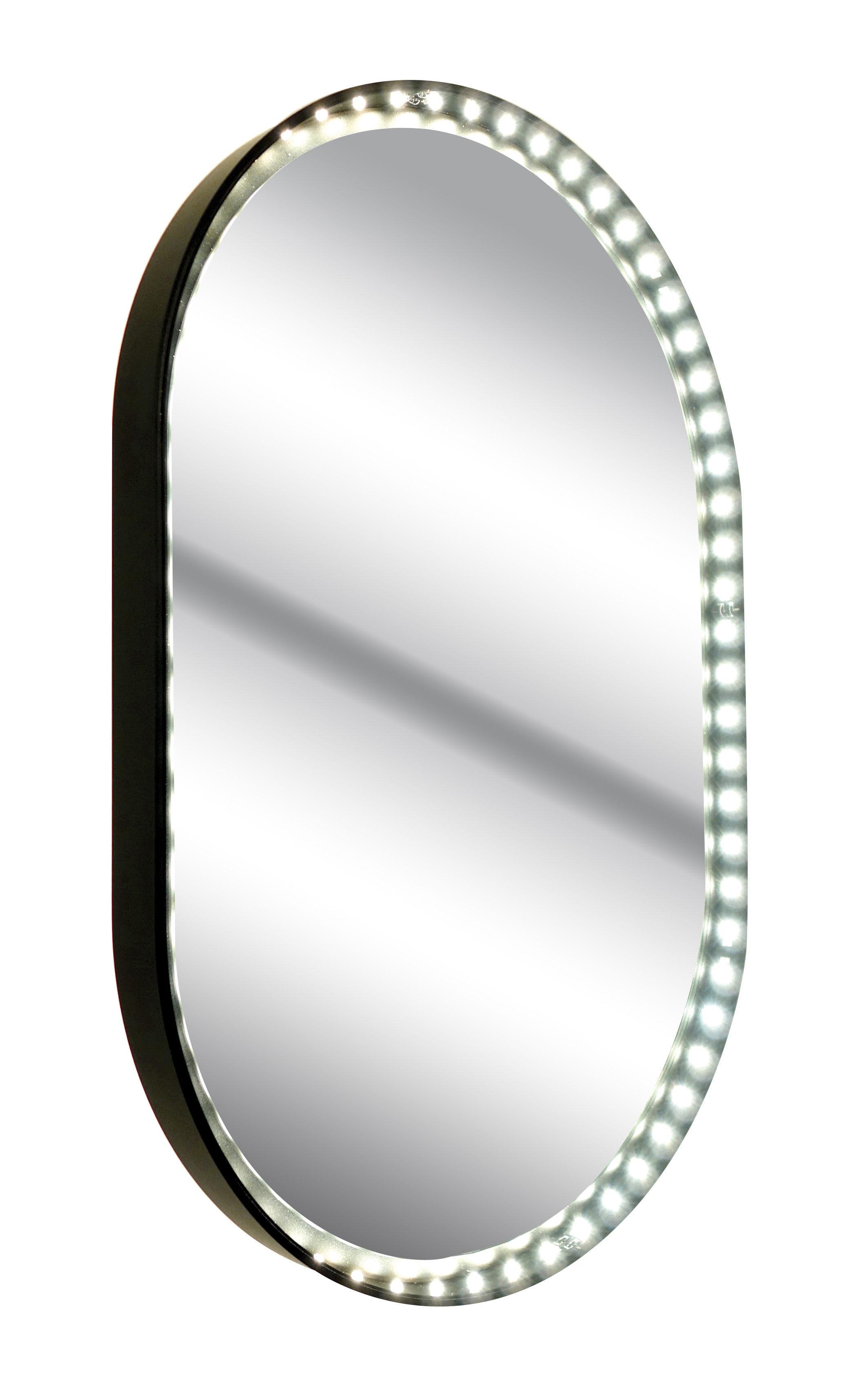 Leuchten - Pendelleuchten - Vanity Oval S Wandleuchte / Spiegel - LED - H 48 cm - Le Deun - Schwarz - Spiegel-Finish, Stahl