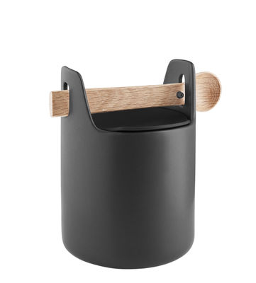 Kitchenware - Kitchen Storage Jars - Toolbox Small Airproof jar - / Wooden lid & spoon by Eva Solo - Black / Oak - Ceramic, Silicone, Solid oak