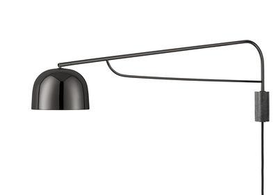 Applique avec prise Grant / Métal & Granite - Pivotante - L 111 cm - Normann Copenhagen noir,gris tonnerre en métal