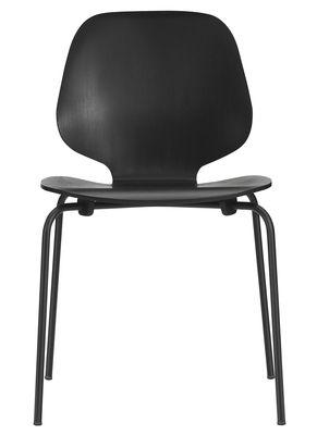 Mobilier - Chaises, fauteuils de salle à manger - Chaise empilable My Chair / Assise bois - Normann Copenhagen - Noir / Pieds noirs - Acier laqué, Placage de frêne