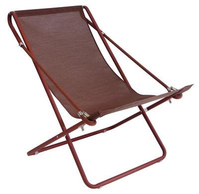 Jardin - Bains de soleil, chaises longues et hamacs - Chaise longue Vetta / Pliable - 2 positions - Emu - Rouille / Structure marron - Acier verni, Corde, Toile