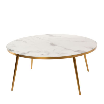 Furniture - Coffee Tables - Coffee table - / Ø 80 x H 35 - Marble look by Pols Potten - White - Resin, Stainless steel