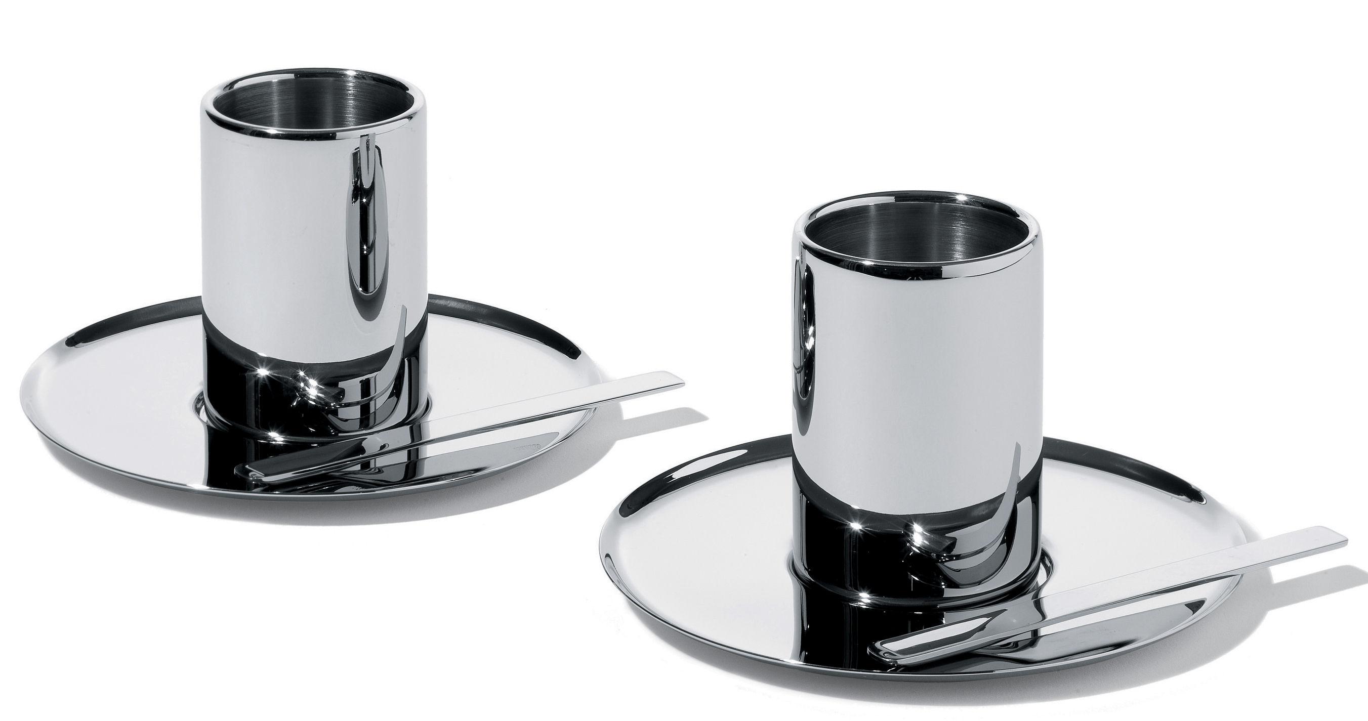 Tableware - Cutlery - Jean Nouvel Coffee, tea spoon - Set of 4 by Alessi - Steel - Stainless steel
