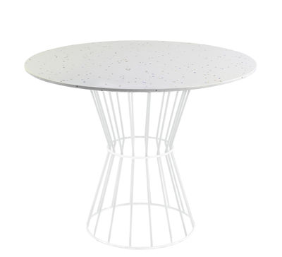 Table ronde Confetti 120 / Terrazzo & métal grillagé - Houtique blanc en métal